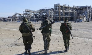 Separatists at the destroyed Donetsk international airport in October last year.