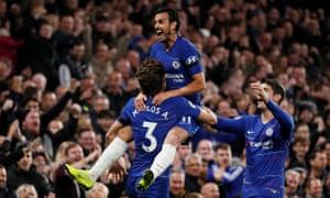 Chelsea's Pedro celebrates scoring their third goal.