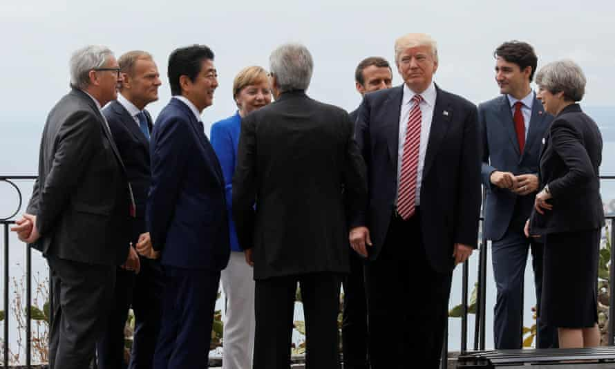 Donald Trump with other leaders at the G7 summit in Taormina, May 2017