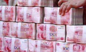 Bundles of 100-yuan notes