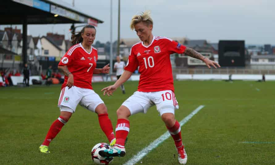 Jessica Fishlock, right, and Natasha Harding in action for Wales during a Euro 2017 qualifying match against Austria last September