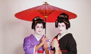 Stefan Arestis and Sebastien Chaneac and their Geisha makeover at Studio Geisha Café in Tokyo
