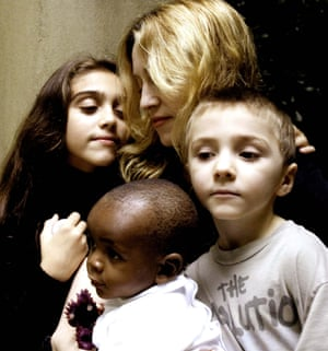 2006: Madonna with her daughter Lourdes, son Rocco and David Banda. Madonna adoption of David caused controversy because Malawian law requires would-be parents to reside in Malawi for at least one year before adopting