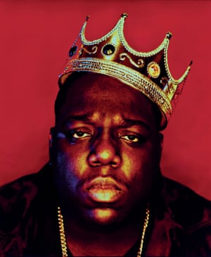 "Biggie Smalls, ""King of New York"", New York City, 1997. Says photographer Barron Claiborne: ""The symbolism of the crown was meant to convey greatness and something bigger about hip-hop and this man who had made it to the top of his game. I used to love Richard Avedon and Irving Penn and how disciplined their photos were, so I really planned out this photo and I had a definite vision for what I wanted."""