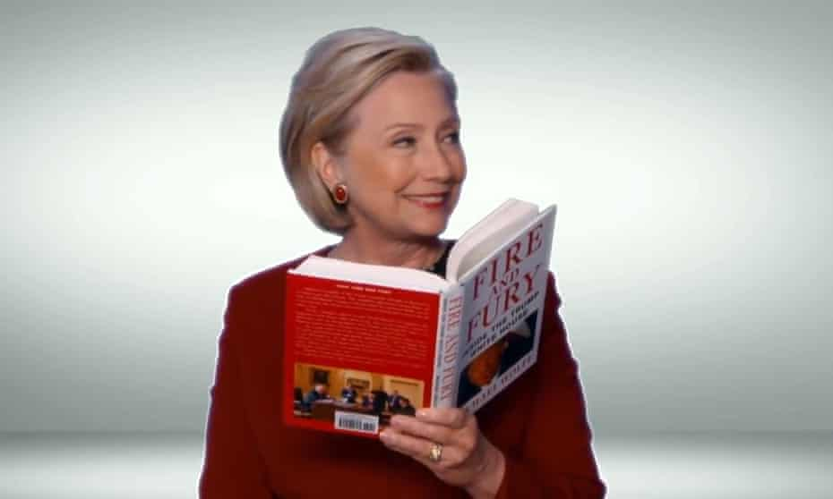 Hillary Clinton appears in a sketch for the 2018 Grammys, reading a passage from Michael Wolff's Fire and Fury.