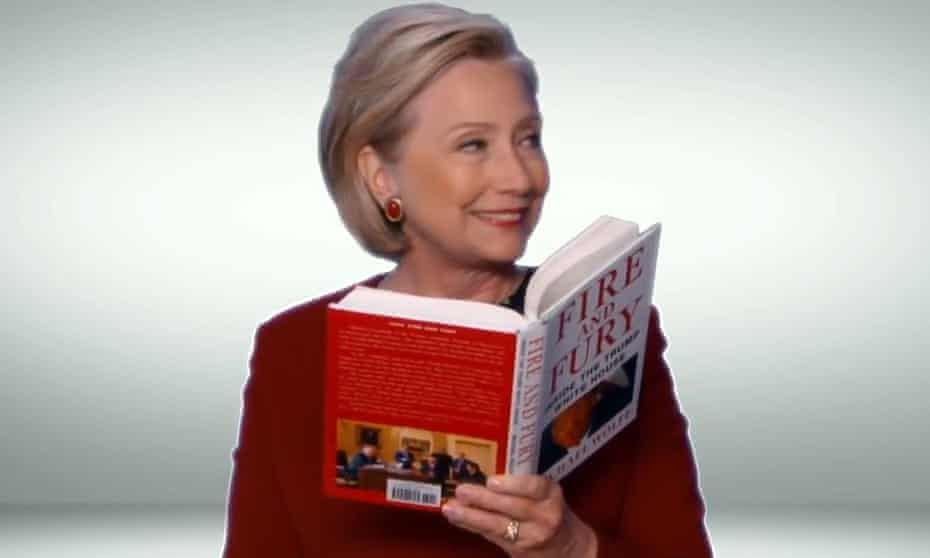Hillary Clinton appears in a sketch for the 2018 Grammys, reading from Michael Wolff's Fire & Fury.