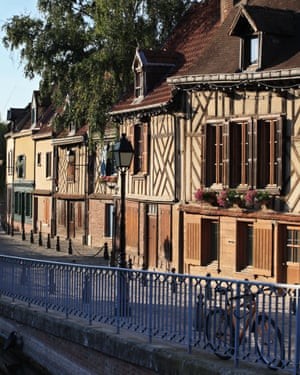 A row of traditional period houses in the Picardy town of Amiens, France