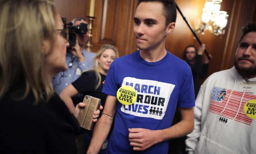 The Marjory Stoneman Douglas high school shooting survivor David Hogg attends the event on Capitol Hill.