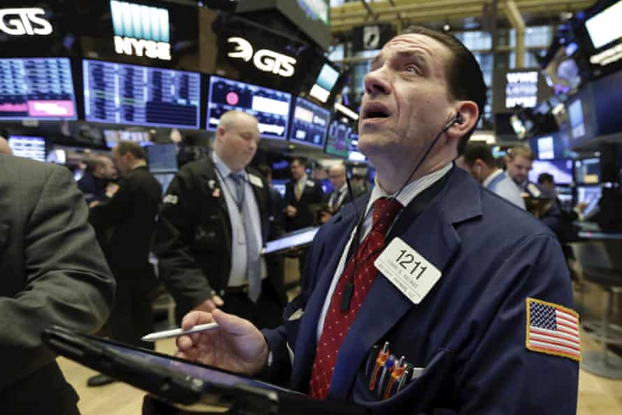 Trader Tommy Kalikas working on the floor of the New York Stock Exchange on Monday, April 2, 2018.