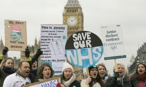 Junior doctors protest outside St Thomas hospital in London