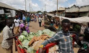 A market in the town of Kiu, south of Nairobi, Kenya