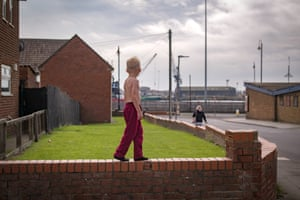 Children play on the streets in the Headlands area of Hartlepool