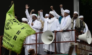Muslim leaders deliver speeches at a previous protest against Jakarta governor Basuki Tjahaja Purnama, outside his office in Jakarta on October.