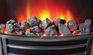 a faux gas-powered coal fire