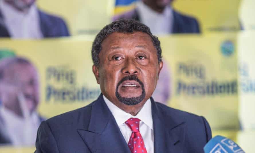 Gabonese opposition leader Jean Ping addresses the media in Libreville.