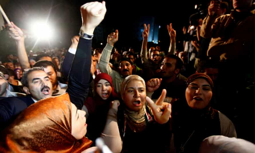 Tunisians celebrate after the first democratic elections after the Arab spring.