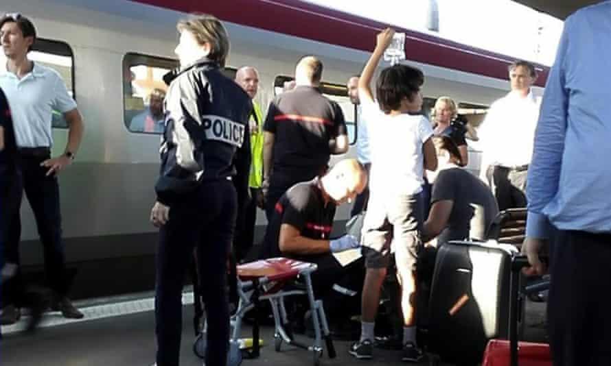 Passenger receives medical attention at Arras train station