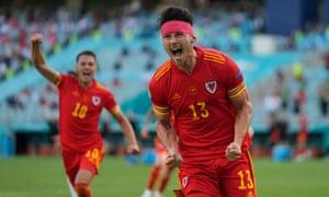 Wales' Kieffer Moore celebrates after equalizing against Switzerland.