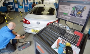 A Volkswagen Passat CC car is tested for its exhaust emissions.
