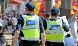 Victoria police officers walk amongst the crowds at the Moomba festival on Sunday.
