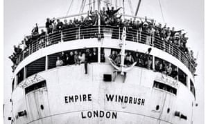 The Empire Windrush on arrival at the Port of Tilbury on the River Thames in 1948.