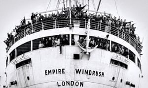 West Indian immigrants arrive at the Port of Tilbury, on the River Thames, June 1948.
