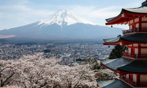 Japan's highest peak, Mount Fuji, is seen over cherry blossoms in full bloom and a memorial pagoda