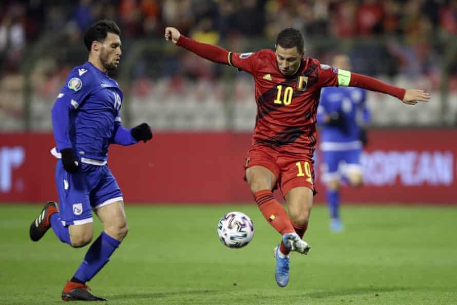 Belgium's Eden Hazard controls the ball in front of Cyprus' Christoforou Kypros during the Euro 2020 qualifier in November 2019.