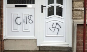 A Combat 18 sign and a swatika sprayed on a door