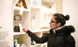A customer browsing items available to buy for refugees