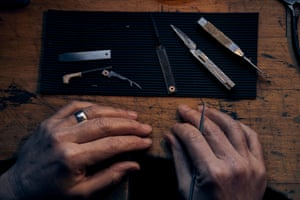 """""""He was right in a lot of ways but there's no doubt that having somebody to show you would be great."""" The city still has a lot of allied trades and there's an underlying, embedded interest in knives. """"So many people have a grandmother who used to be a buffer or they have kept their father's silver pocket knife because they once worked in the trade. There's still that connection there and so I stayed in Sheffield."""""""