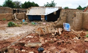 Houses destroyed by flooding on the outskirts of the capital, Ouagadougou.
