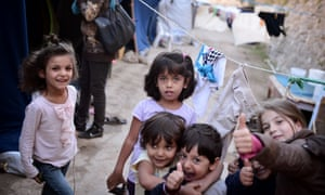 Children play in a camp on the island on Chios in September