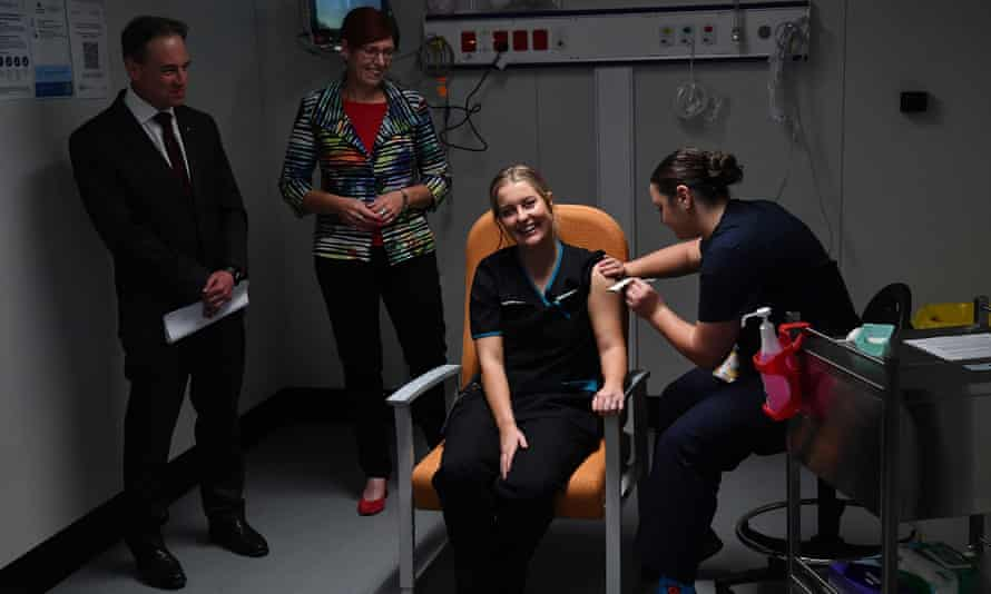 Health minister Greg Hunt at the ACT's first Covid vaccination on 22 February, 2021.