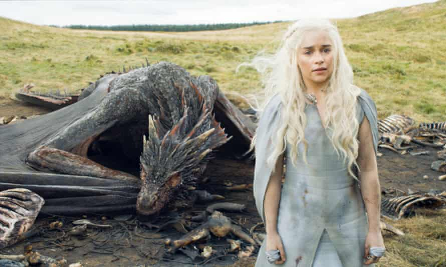 Emilia Clarke as Daenerys Targaryen in series 5 of Game of Thrones.