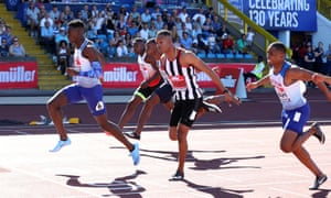 Reece Prescod (left) wins the 100m at last year's British Championships.