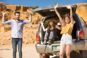 Jack Whitehall, Rosie Perez and Charity Wakefield in Bounty Hunters.
