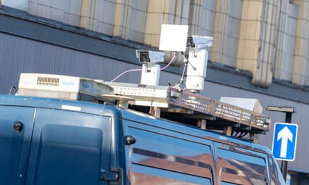 facial recognition cameras mounted on top of a van in romford essex in january 2019