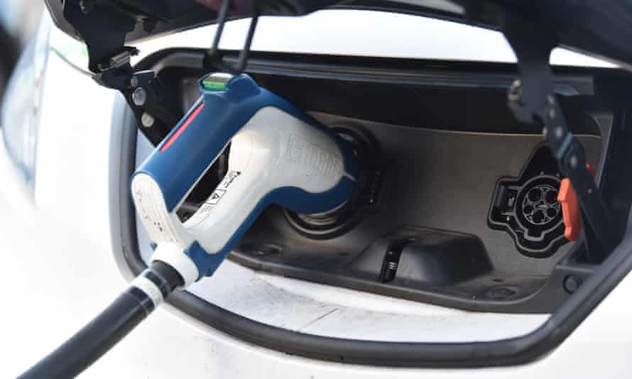 An electric vehicle at a charging pod point in Stoke-On-Trent, England.