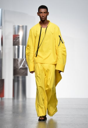 A model on the catwalk at the Berthold show, London men's fashion week.