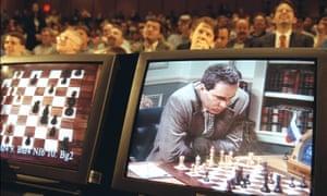 Outgunned … chess champion Garry Kasparov plays against IBM computer Deep Blue.