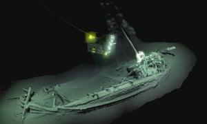 Lights illuminate the 2,400-year-old Greek ship found 2km underwater off Bulgaria
