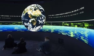 World of difference … Exit is a vast 360-degree video installation, with viewers seated in the middle.
