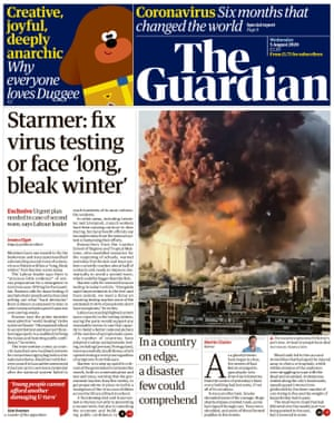 Guardian front page, Wednesday 5 August 2020