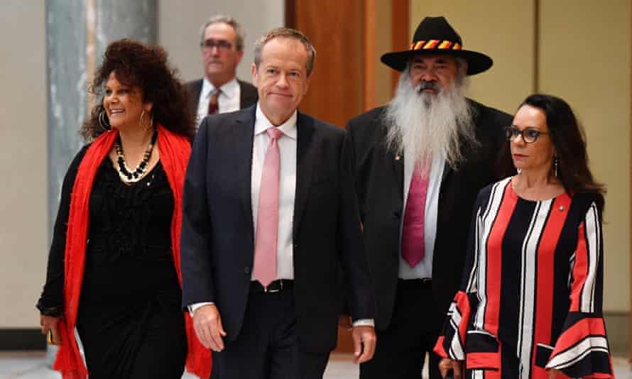 Labor senator Malarndirri McCarthy, Bill Shorten, Pat Dodson and Linda Burney.