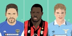 Roberto Baggio, George Weah and Paul Gascoigne.