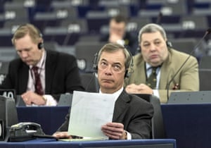 Strasbourg, France. MEP Nigel Farage at the European Parliament during a debate on Brexit