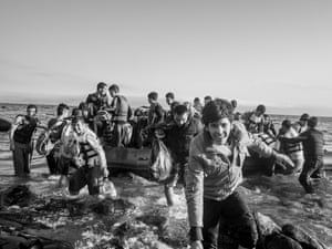 Refugees disembark on Lesbos, Greece, 2015