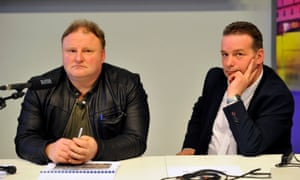 Piotr Koper (left) and Andreas Richter attend the press conference in Walbrzych.