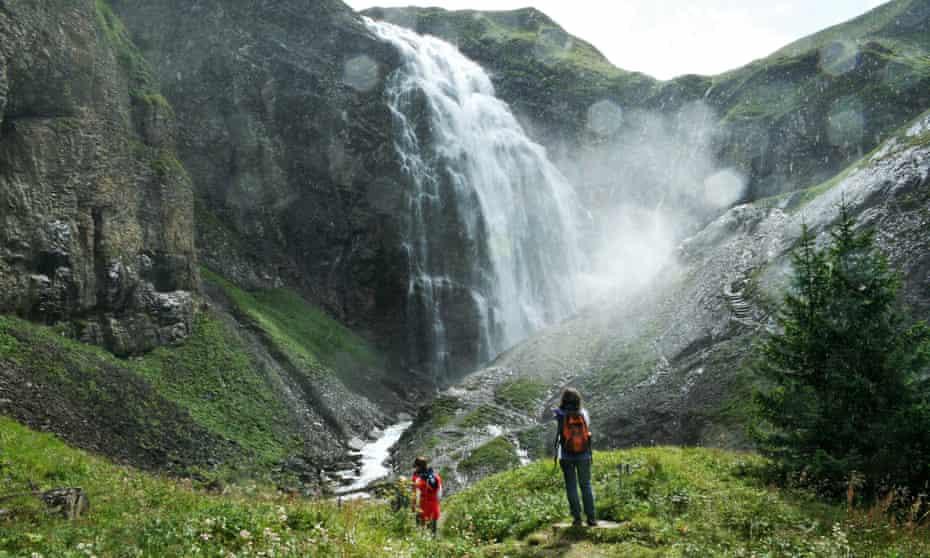 Hiking at the Engstligen falls in Adelboden, Switzerland